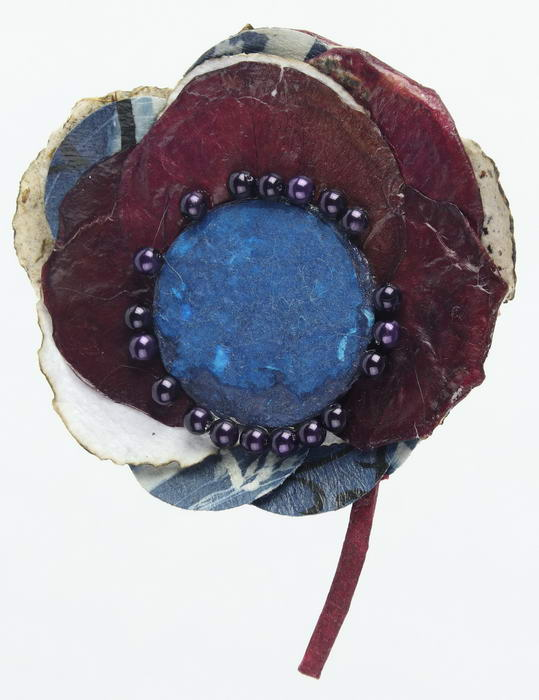 Broche Bordeau / Blauw