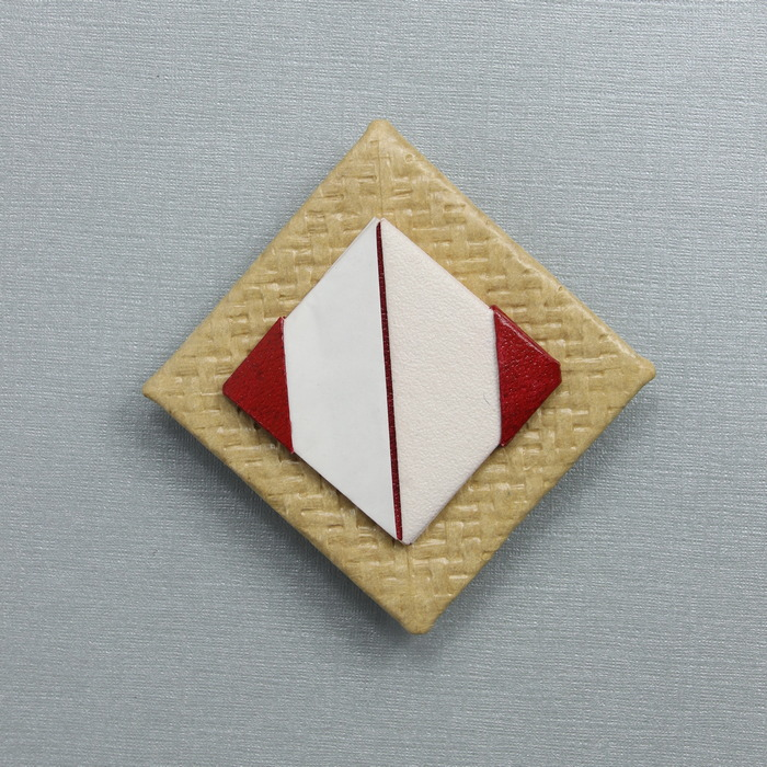 Origami - rood - beige