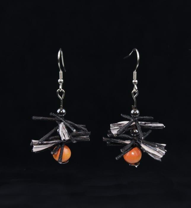 Oorbel Zwart - Oranje